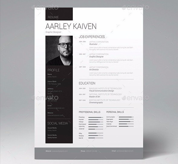 28 minimal creative resume templates psd word ai free clean resume set yelopaper Gallery