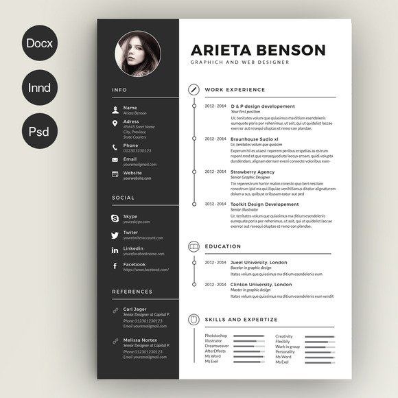 A Clean CV Resume Template With Cover Letter. Template Is Available As CS5  InDesign Files (INDD), CS4 InDesign Files (IDML), Microsoft Word Files  (DOCX), ...
