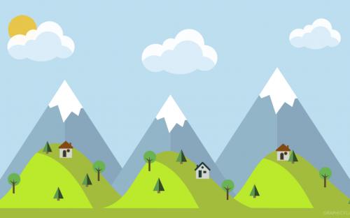 Free Mountain Landscape Wallpaper in Flat Design