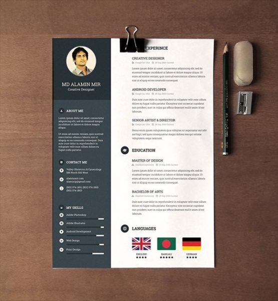 28 minimal creative resume templates psd word ai free - Free Resume Templates In Word