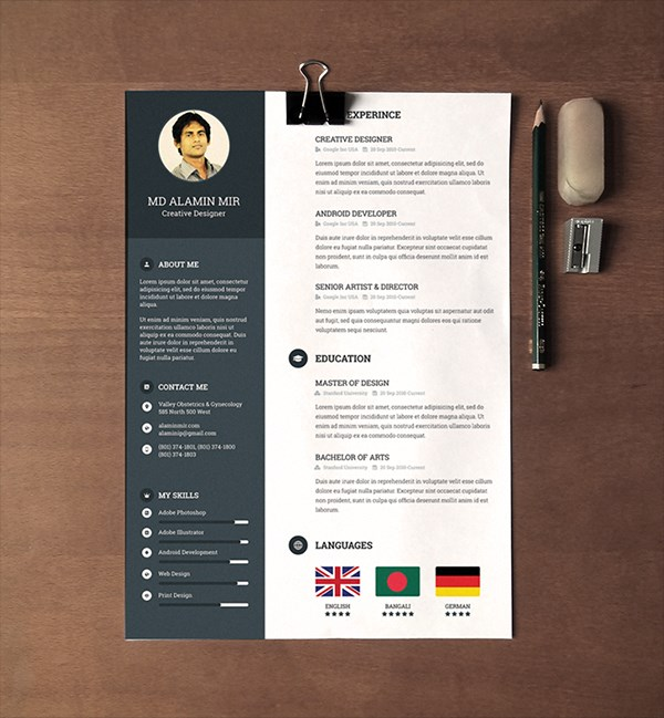 28 Minimal & Creative Resume Templates - PSD, Word & AI