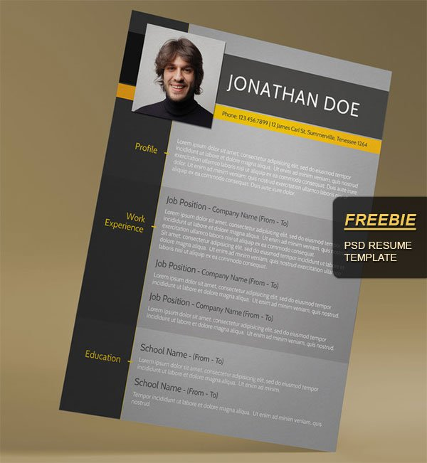 Free Resume Template Psd  Free Resume Templates To Download