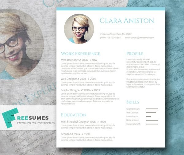 28 minimal creative resume templates psd word ai free simple snapshot the freebie photo resume template yelopaper Choice Image