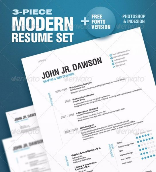 3 piece modern resume set - Free Creative Resume Templates Word