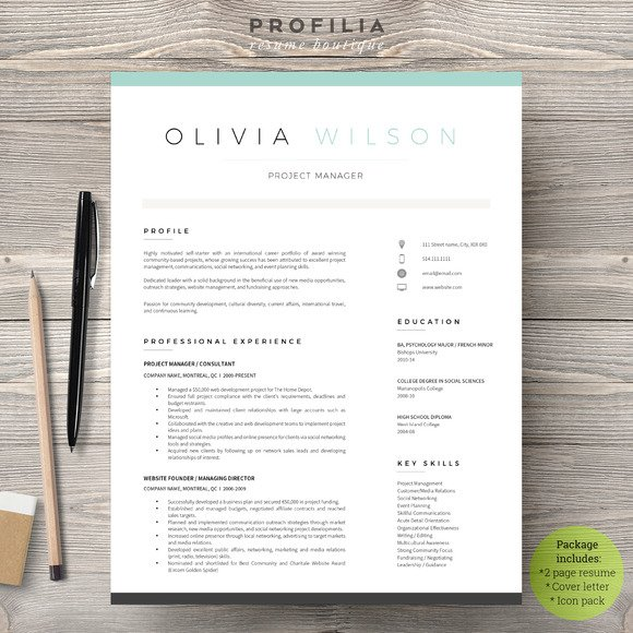 a modern eye catching resumecv template available as editable word pdf files web link to download the free fonts used in the template is also provided