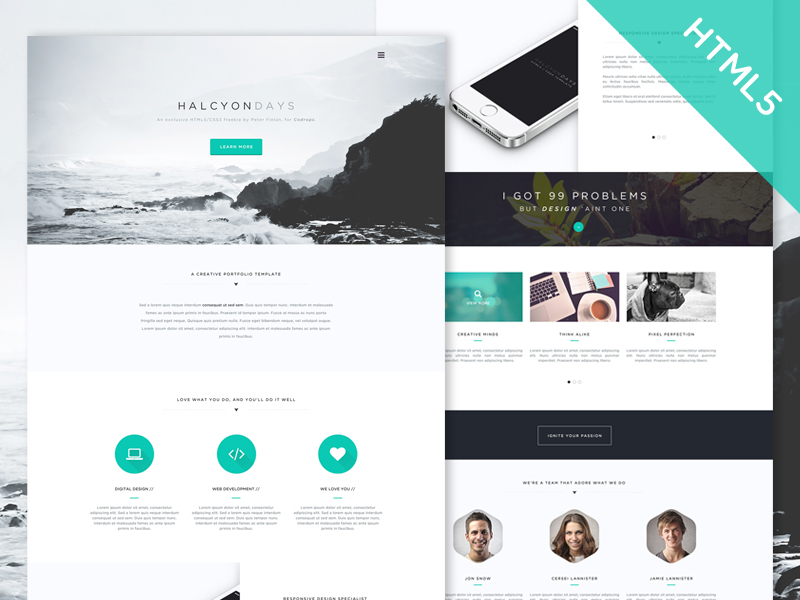 Halcyon Days One Page Portfolio Template Free