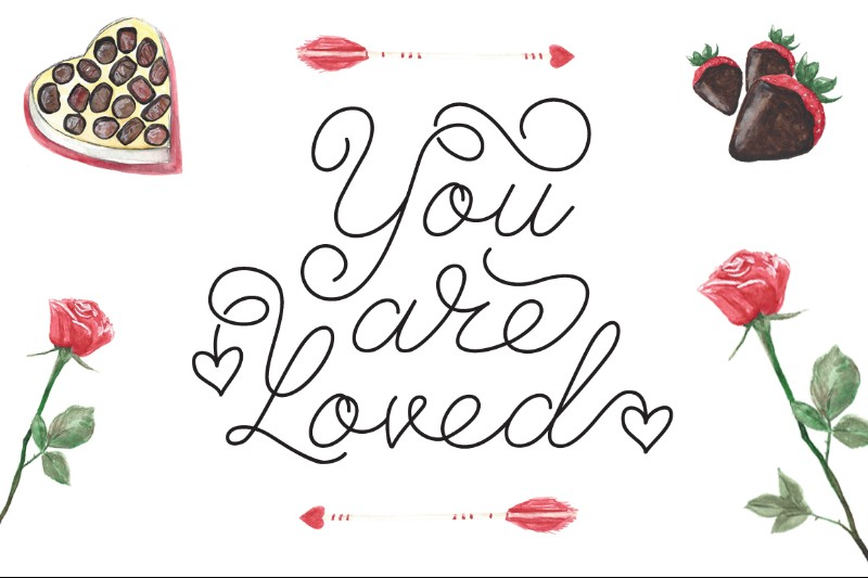 Valentine day themed fonts for designing cards and