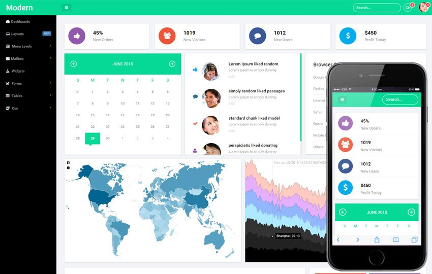 26 bootstrap admin templates for dashboard free premium for Free admin template