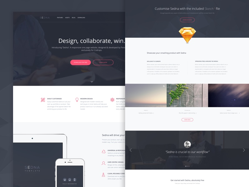 30 one page website templates built with html5 css3 for Html5 wireframe template