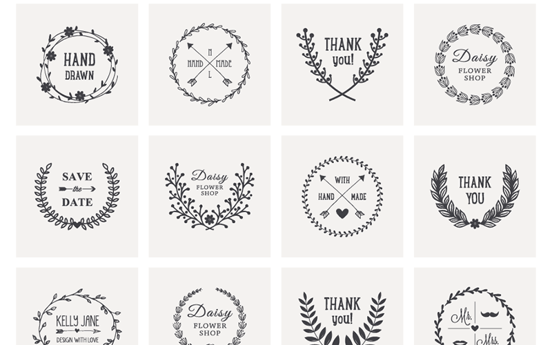 Free Download: 20 Hand Drawn Laurel Wreath Vectors