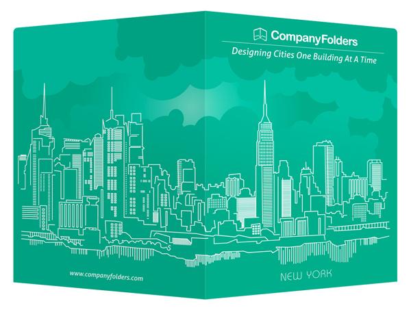 New York City Skyline Presentation Folder And Business Card Template