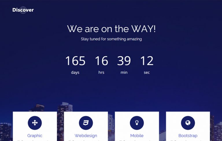 Discover Bootstrap Coming Soon Template