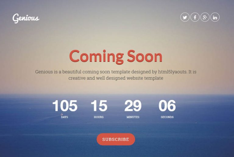 Genious Is A Free Coming Soon Page Website Template O Create An Effective And Ealing Or Under Construction