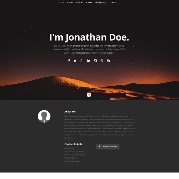 Resume Website Template typographic cv resume website template Ceevee Free Responsive Website Template