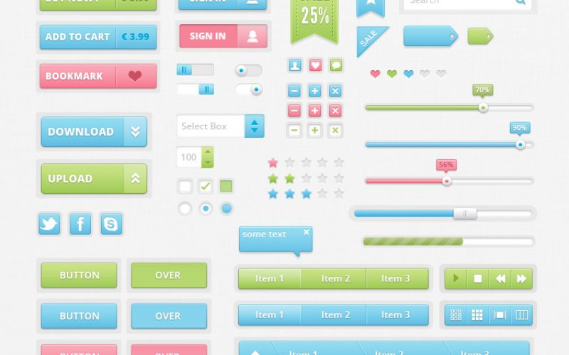Freebie: Sweet and Colorful UI Kit PSD