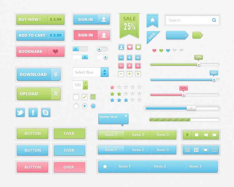 Colorful UI Kit PSD Preview