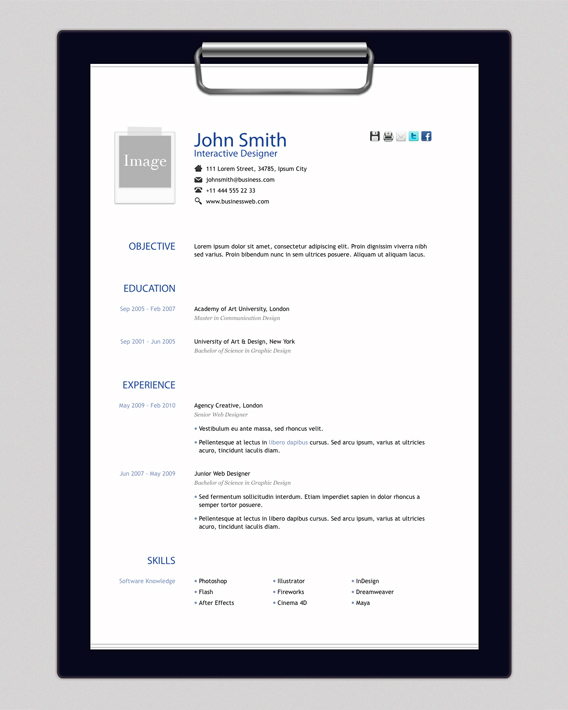 Free HTML Resume Template By Elemis  Free Basic Resume Templates Download