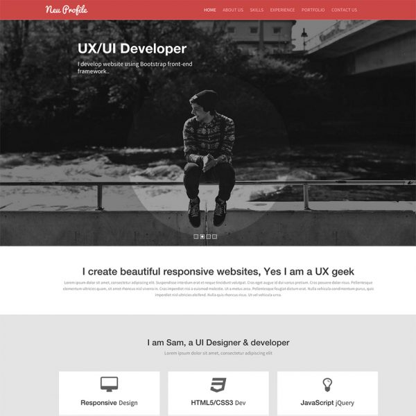 21 professional html css resume templates for free download and neu profile responsive bootstrap site template yelopaper Gallery