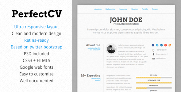 20 Professional Html Amp Css Resume Templates For Free
