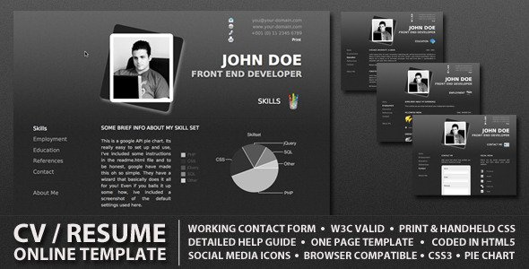 procv is a stylish online cv resume one page website template adapting a minimal professional style the design is also streamlined to use minimal colors - Resume Web Template