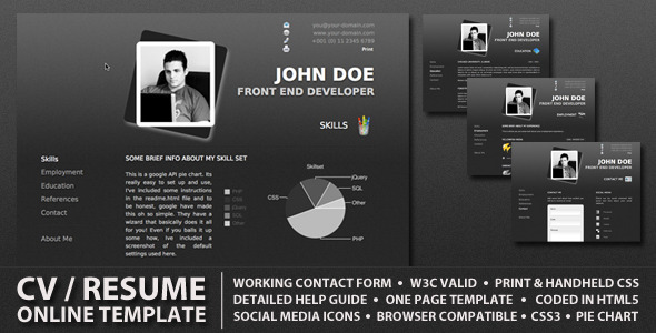 procv is a stylish online cv resume one page website template adapting a minimal professional style the design is also streamlined to use minimal colors