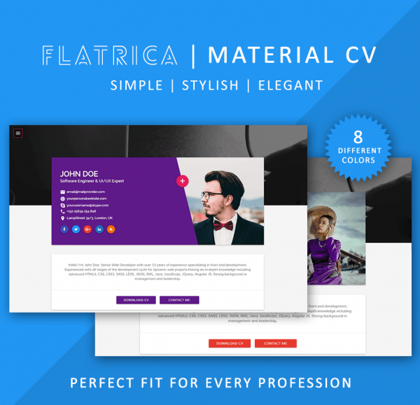 15 material design resume templates for the perfect first flatrica resume template yelopaper Image collections