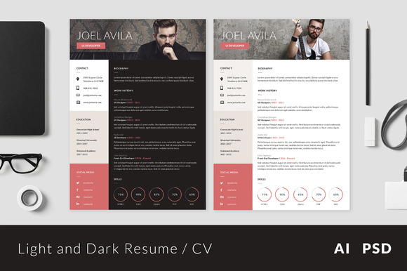 Light And Dark Resume CV  Design A Resume