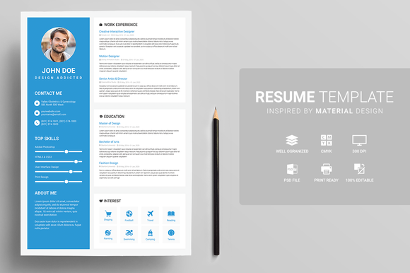 resume template in material look