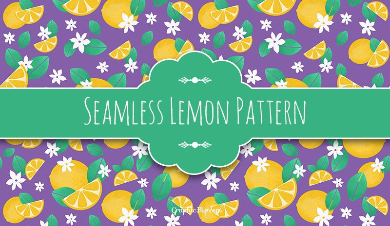 Free seamless lemon pattern - Photoshop PAT file