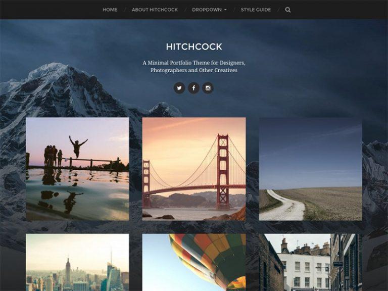 hitchcock minimal photography wordpress theme