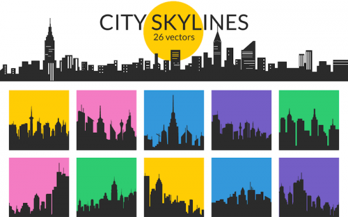 Free Download: 26 City Skyline Vectors (AI, EPS, SVG, PSD & PNG)