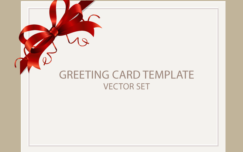 Freebie: Greeting Card Templates with Red Bow – AI, EPS, PSD & PNG