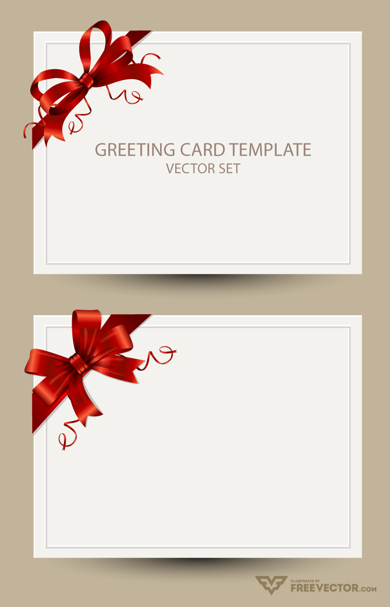 Freebie greeting card templates with red bow ai eps for Free complimentary cards templates