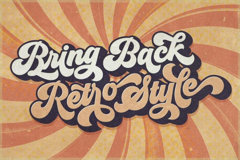 groovy retro script font