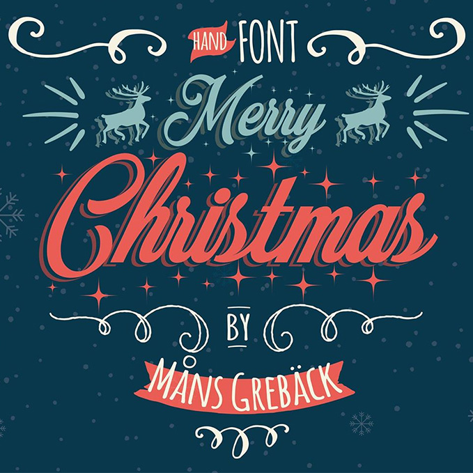 Merry Christmas Is A Decorative And New Years Eve Typeface It Comes In Two Styles Flake With Snow Flakes Sprinkled Around The