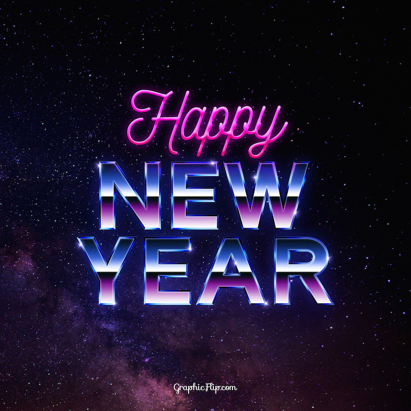 Free new year greeting card with 80s retro text effect super dev retro new year card m4hsunfo