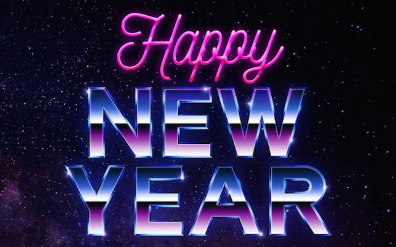 Free New Year Greeting Card with 80's Retro Text Effect