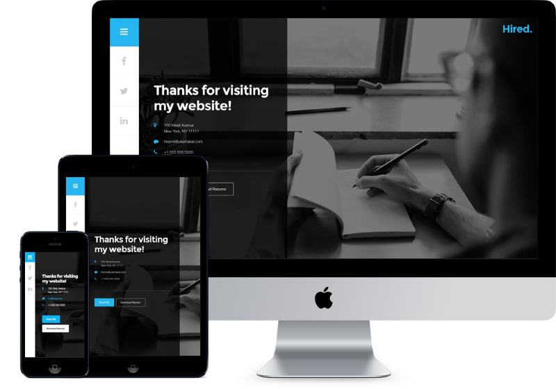 hired free resume wordpress theme