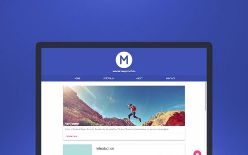 Freebie: Material Design Portfolio Template – HTML, CSS and Demo Images