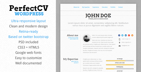 perfectcv responsive cv resume theme - Wordpress Resume Template