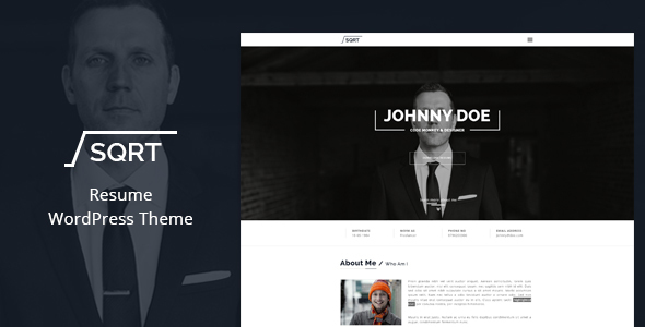 16 resume wordpress themes for personal websites with cv super dev wordpress resume theme squareroot yelopaper Images