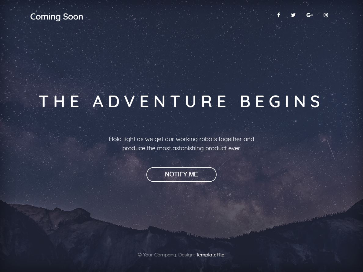 Freebie: Coming Soon Bootstrap 4 Template with Full Width Background Image - Super Dev Resources