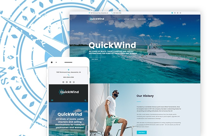 QuickWind – Yachting and Voyage Charter WordPress Theme