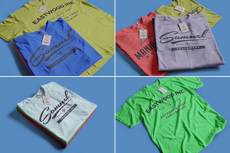 Fully editable colored shirt mockups