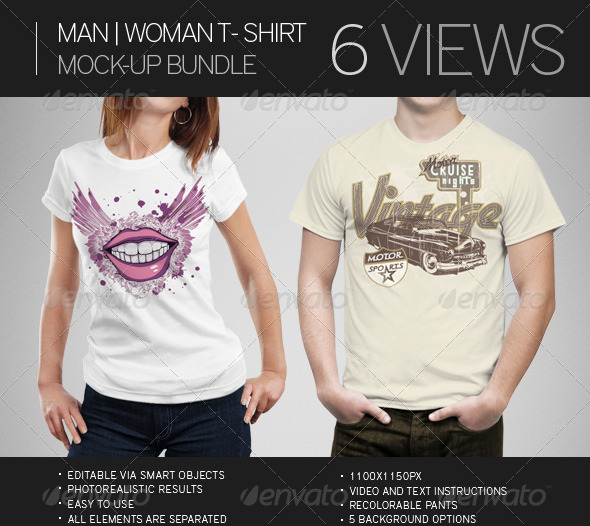 Mockups of Men and Women T Shirts
