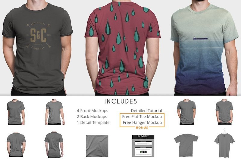 Mockups for different fits for men tshirts