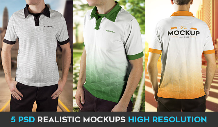 Men's polo shirt mockups