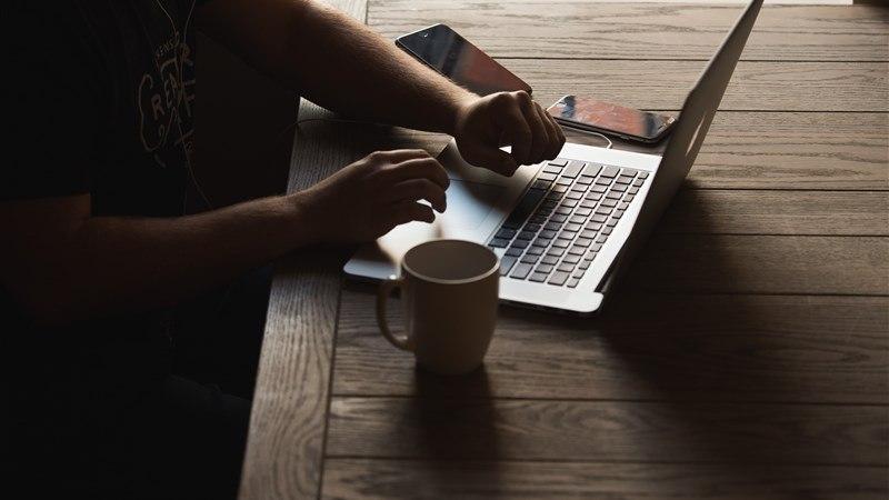 Laptop Work Dark Background