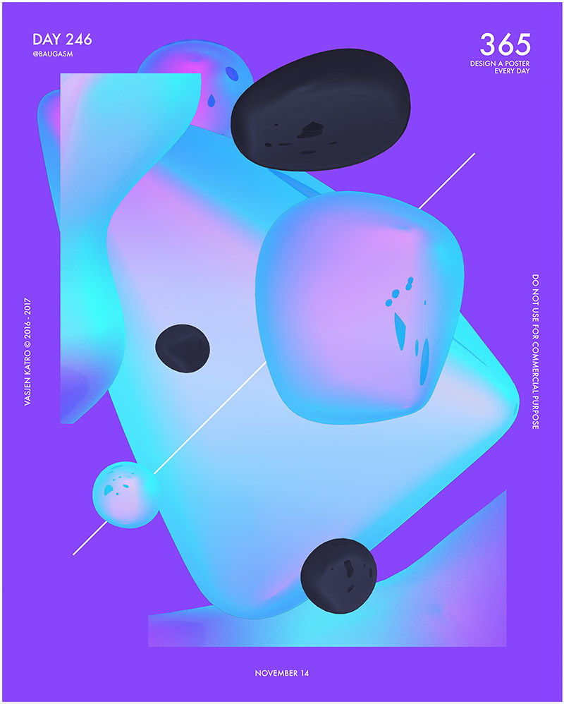 Baugasm Poster with bright gradients and shapes