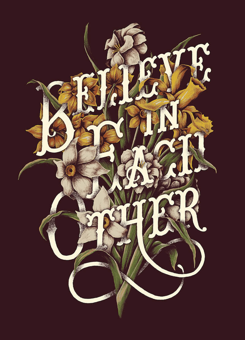 Floral Typography Design by Yondr Studio